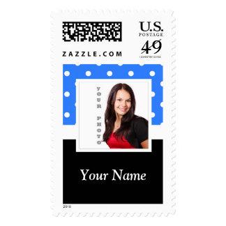 Light blue polka dot photo template postage stamp