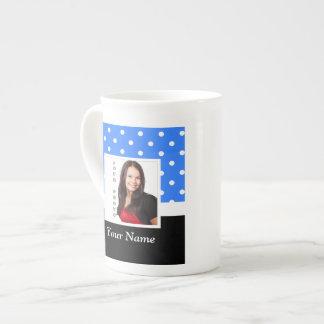 Light blue polka dot photo template tea cup