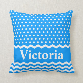 Light Blue Polka Dots and Chevrons Throw Pillow