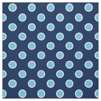 Light Blue Polka Dots on Dark Blue Fabric