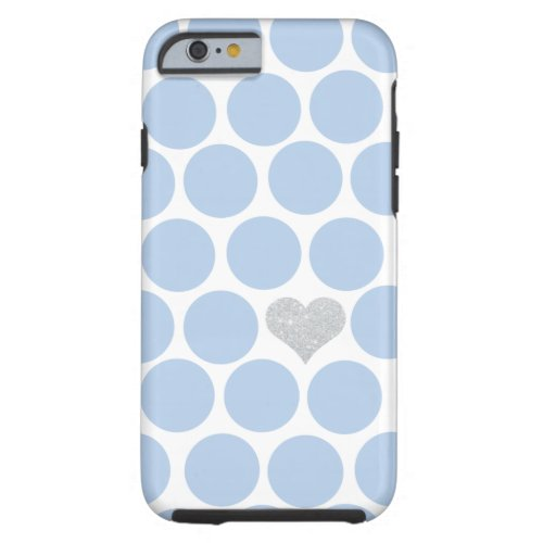 Light Blue Polka Dots Silver Heart iPhone
