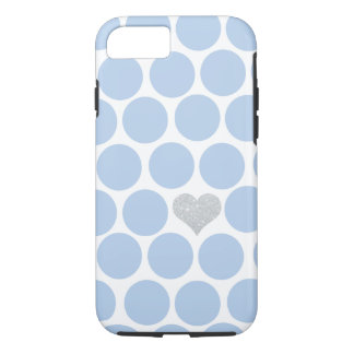 Light Blue Polka Dots Silver Heart iPhone iPhone 8/7 Case