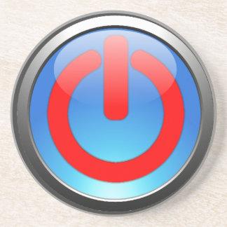 Light Blue Power Button Beverage Coaster
