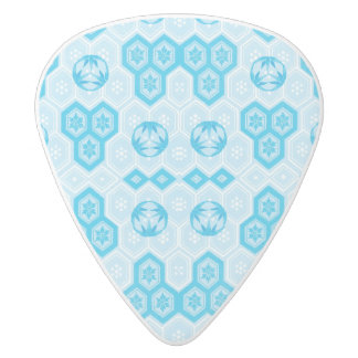 Light Blue Pretty Geometric Flower Floral Pattern White Delrin Guitar Pick