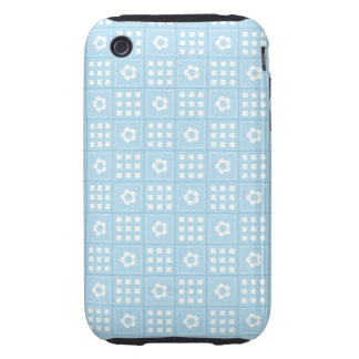 Light Blue Quilt Squares Flowers and Squares Patte Tough iPhone 3 Cover