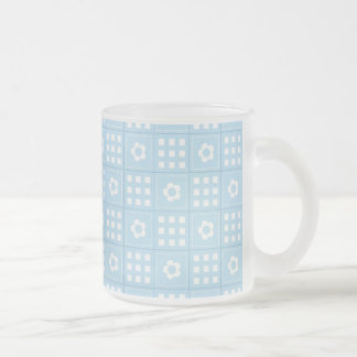 Light Blue Quilt Squares Flowers and Squares Patte Frosted Glass Coffee Mug