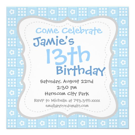 Light Blue Quilt Squares Flowers and Squares Patte Personalized Invites