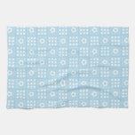 Light Blue Quilt Squares Flowers and Squares Patte Towels