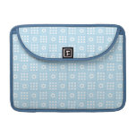 Light Blue Quilt Squares Flowers and Squares Patte Sleeve For MacBooks