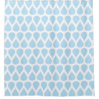 Light Blue Rain Drops Dot Pattern Shower Curtain