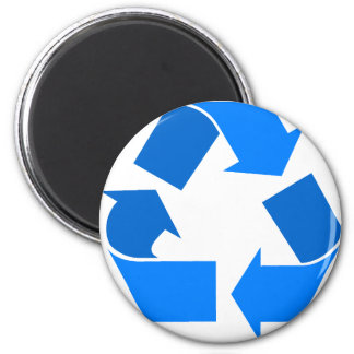 light blue recycle 2 inch round magnet