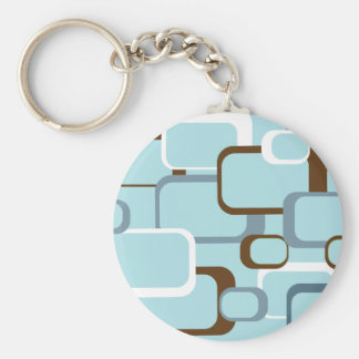 light blue retro squares basic round button keychain