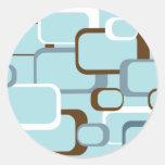 light blue retro squares classic round sticker
