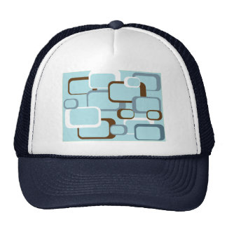 light blue retro squares hat
