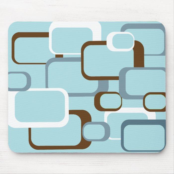 Light Blue Retro Squares Mousepad