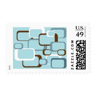 light blue retro squares postage