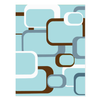 light blue retro squares postcard