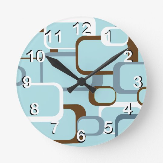 Light Blue Retro Squares Round Clock
