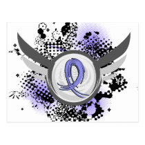 Light Blue Ribbon And Wings Prostate Cancer Postcard