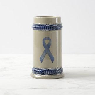 Light Blue Ribbon Beer Stein