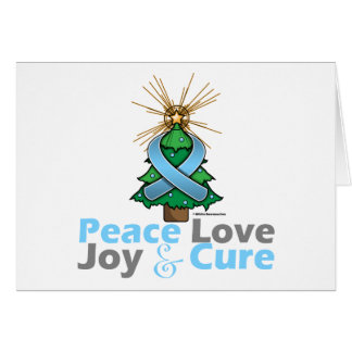 Light Blue Ribbon Christmas Peace Love, Joy & Cure Greeting Card