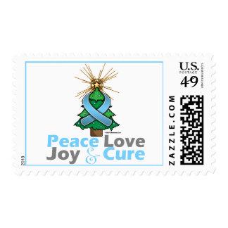 Light Blue Ribbon Christmas Peace Love, Joy & Cure Stamps