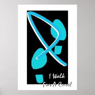 Light Blue Ribbon Footprints I Walk For A Cure I Posters