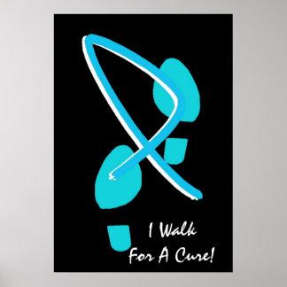 Light Blue Ribbon Footprints I Walk For A Cure III Poster