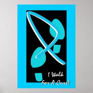 Light Blue Ribbon Footprints I Walk For A Cure Print