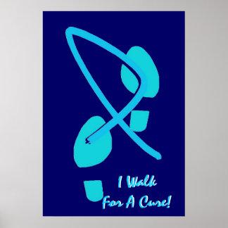 Light Blue Ribbon Footprints I Walk For A Cure VI Print