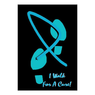 Light Blue Ribbon Footprints I Walk For A Cure VII Posters