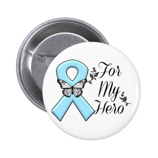 Light Blue Ribbon For My Hero 2 Inch Round Button