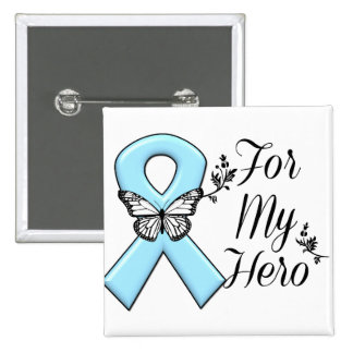 Light Blue Ribbon For My Hero 2 Inch Square Button