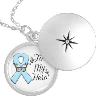 Light Blue Ribbon For My Hero Locket Necklace