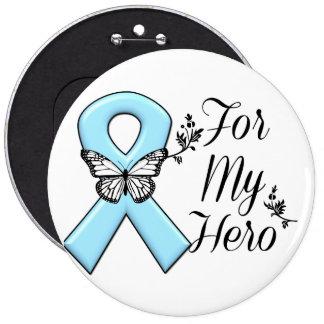 Light Blue Ribbon For My Hero Pinback Button