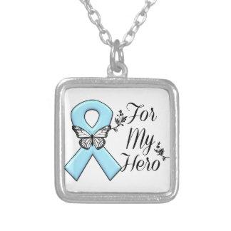 Light Blue Ribbon For My Hero Square Pendant Necklace