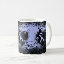 Light Blue Ribbon Grunge Heart Coffee Mug
