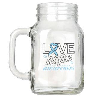 Light Blue Ribbon Love Hope Awareness Mason Jar