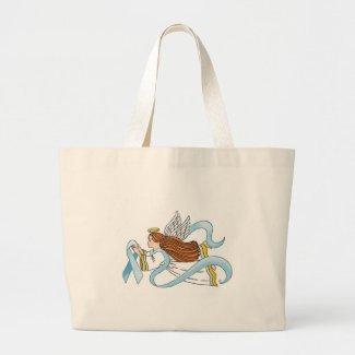 """Light Blue Ribbon"" of Awareness Canvas Bag"