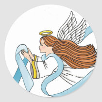 """Light Blue Ribbon"" of Awareness Classic Round Sticker"