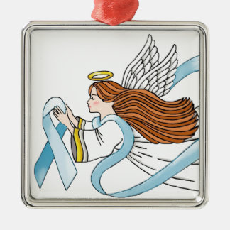 """Light Blue Ribbon"" of Awareness Metal Ornament"