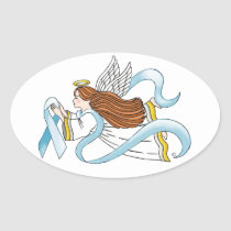 """Light Blue Ribbon"" of Awareness Oval Sticker"