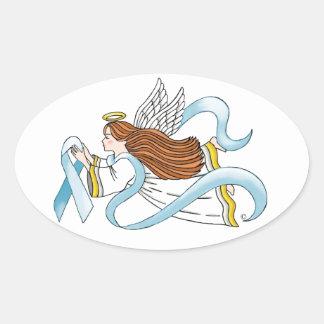 """Light Blue Ribbon"" of Awareness Oval Sticker"