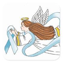 """Light Blue Ribbon"" of Awareness Square Sticker"