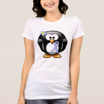 Light Blue Ribbon Penguin T-Shirt