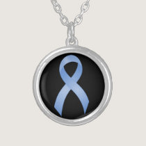 Light Blue Ribbon Prostate Cancer Silver Plated Necklace