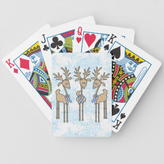Light Blue Ribbon Reindeer Bicycle Playing Cards