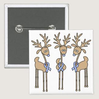 Light Blue Ribbon Reindeer Button
