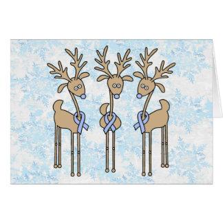 Light Blue Ribbon Reindeer Card