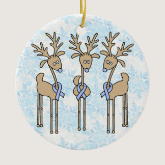 Light Blue Ribbon Reindeer Ceramic Ornament
